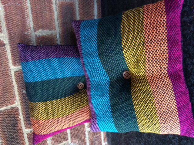 Hand woven Rainbow Cushion