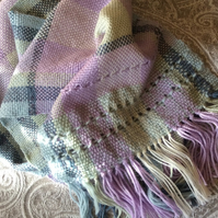 Hand Woven Lilac and Green Check Scarf