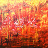 Abstract Painting, Colourful Acrylic on Canvas Board, Framed, Orange, Red