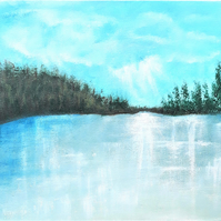 Frozen Lake Painting, Turquoise Winter Landscape, Ready Framed Acrylic Art