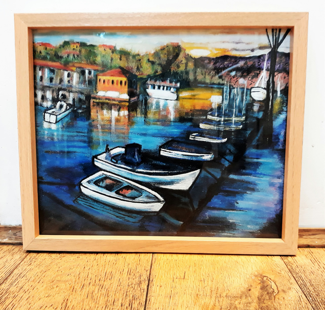 Colourful Boats Painting, Harbour Art, Ready Framed Acrylics on Canvas Board