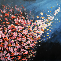 Original Flower Painting, Abstract Acrylic on Canvas