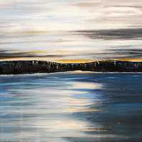 Tranquil Sea Painting, Calm Seascape with Sunset, Acrylics on Canvas