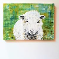 Original Sheep Painting in Acrylics on Canvas, A4 size, Unframed