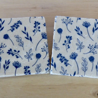 Marble 'Blue Floral' Coasters