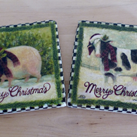 Marble 'Merry Christmas' Coasters