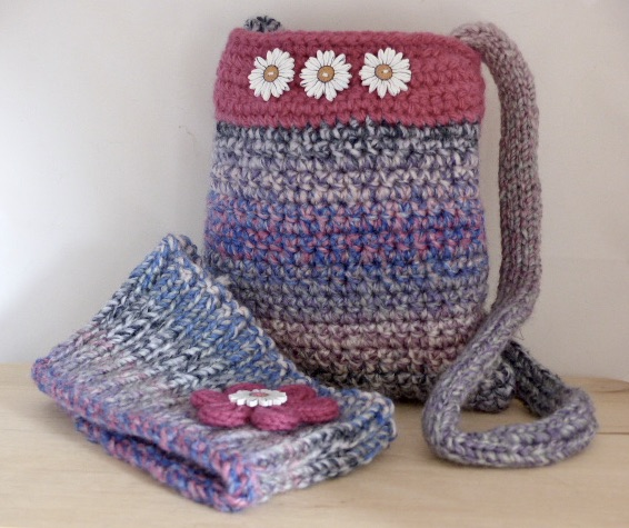 Crocheted Bag & Knitted Headband Set
