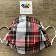 White and Red Stewart Tartan Face Mask