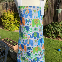 Child's Reversible Apron with Elephants - Small (3-6 years approx)