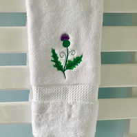 Luxury Embroidered Thistle hand towel