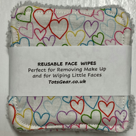 Reusable Face Wipes - white with multi hearts abs light grey towelling