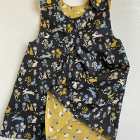Reversible Dress with Sheep and Rabbits - made to order 0-3 months up to 4 years