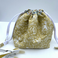 Cotton Drawstring Peg Bag with hanging Tab - Mustard Forest theme with mini flow