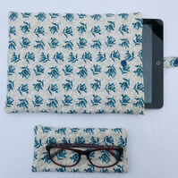 Blue Floral Quilted iPad Tablet Case and matching Glasses case