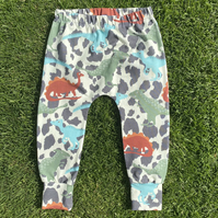 Dinosaur Cuffed Leggings in Organic stretchy Cotton - 0-3 months up to 6 years