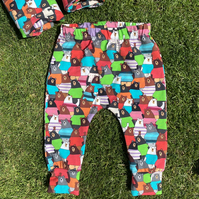 Colourful Cotton cuffed Leggings with Bears - 0-3 months up to 6 years