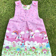 Fairytale reversible pinafore Dress - made to order 2 years up to 5 years