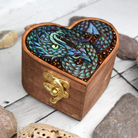 Sea Dragon. Heart shaped, small pyrography box.