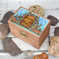 The Sea Door. Small pyrography box. Mermaid Door.