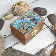 Sea Shrooms. Tiny pyrography box. Underwater toadstools.
