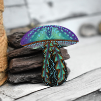 Blue purple pyrography shroom jelly brooch. Unique Toadstool jellyfish pin.