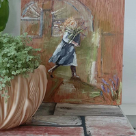 The flower grower painting on wood
