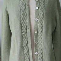 Soft green hand knitted cardigan