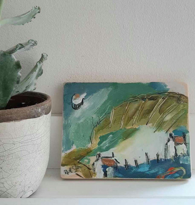 cottages by the sea ,small painting