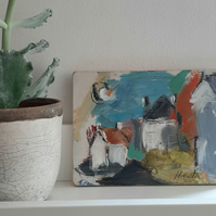 Semi abstract cottages small painting