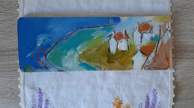 Coastal cottages small painting