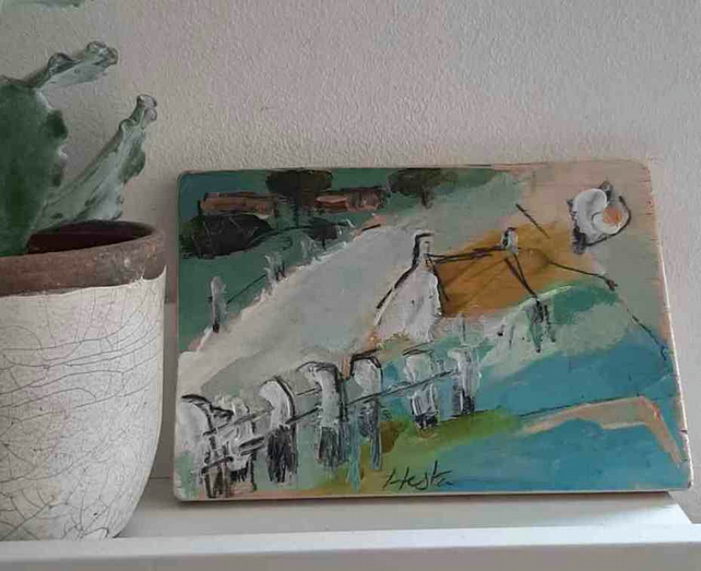 Semi abstract cottage landscape painting