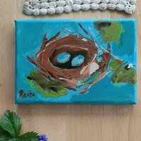 Birds nest painting on small canvas