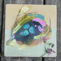 Small semi abstract nest painting on reclaimed wood