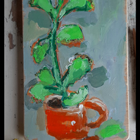Succulent still life painting on thick reclaimed wood
