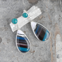 Chrysocolla and cornish surfite earrings