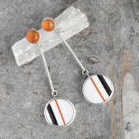 Orange stripe cornish surfite earrings