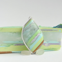 Pastel Cornish surfite and silver pendant