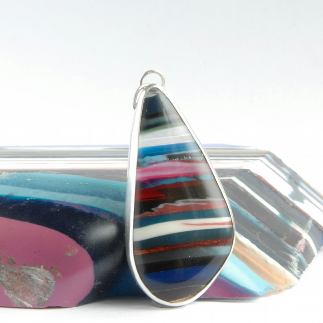 Freeform Cornish surfite and silver pendant