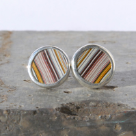 Round Dodge fordite stud earrings