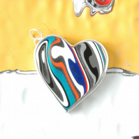 Teal and grey heart shaped fordite pendant