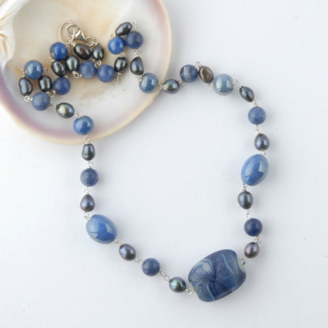 Blue glass and pearl necklace