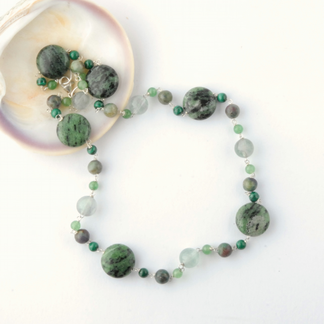 Green gemstone beaded necklace
