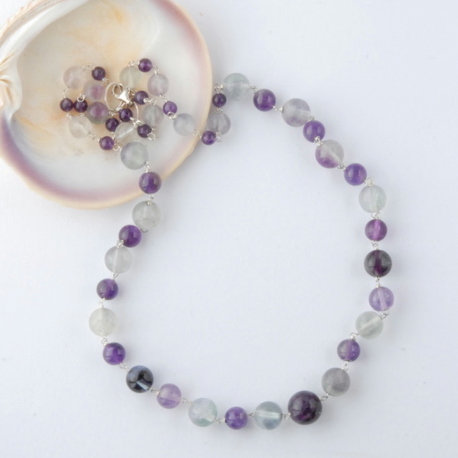 Fluorite and amethyst necklace