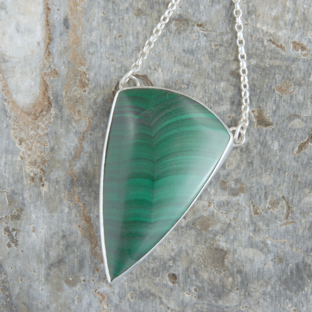 Malachite and sterling silver statement pendant