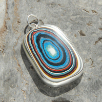 Harley fordite and sterling silver pendant