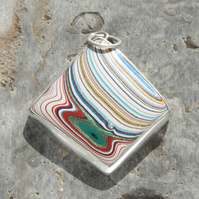 Rhomboid vintage Dodge fordite and silver pendant