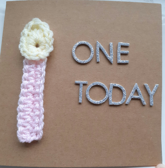 Crochet Candle First Birthday Card
