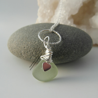 Pale Green Cornish Sea Glass Necklace with Heart Charm and Hammered Ring N531