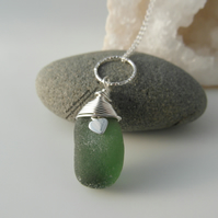 Dark Green Cornish Sea Glass Necklace with Heart Charm and Hammered Ring N535