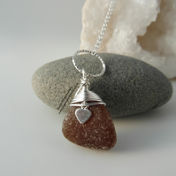 Dark Amber Cornish Sea Glass Necklace with Heart Charm and Hammered Ring N534